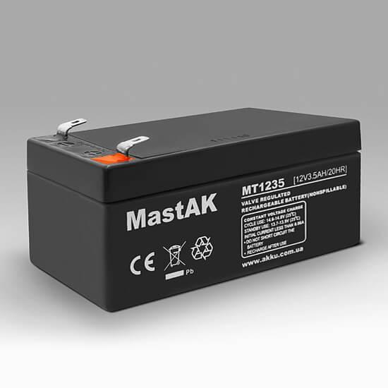 Герметичный свинцово-кислотный аккумулятор AGM Mastak MT1235 12V 3