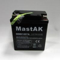 свинцово-кислотный аккумулятор для мототехники Mastak MMB1207A moto 12V 7A 114x70x130 (56314630)